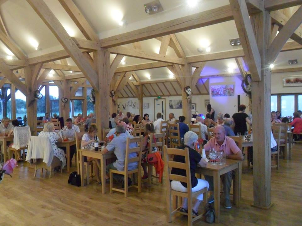 customers enjoying lunch in the barn cafe
